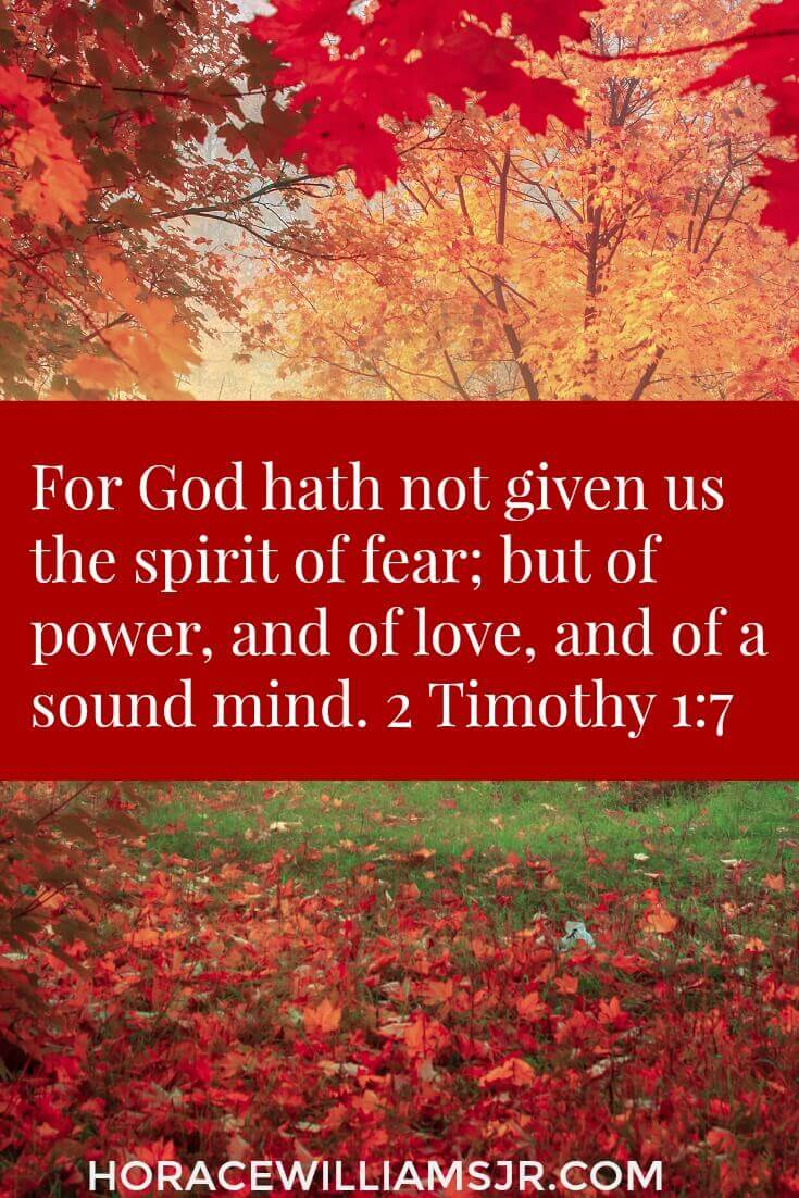 For God hath not given us the spirit of fear... 2 Timothy 1:7
